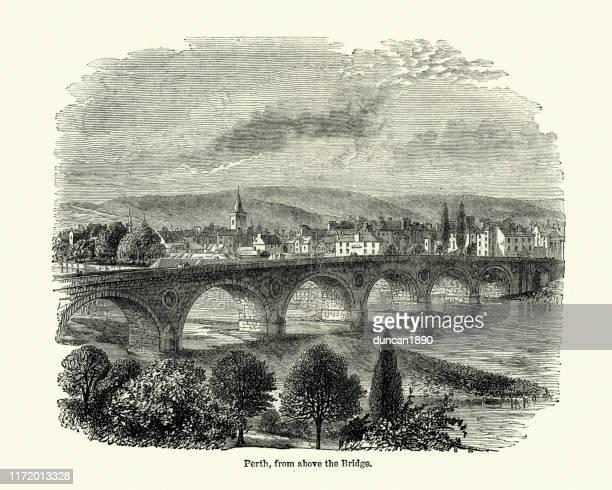perth, scotland, 19th century - perth scotland stock illustrations