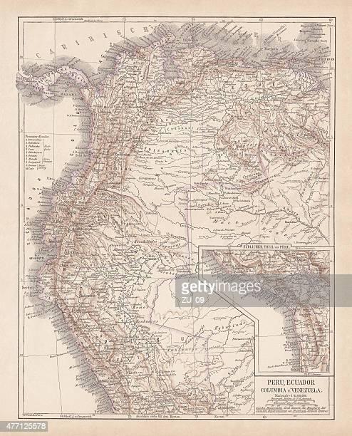 Peru, Ecuador, Colombia, Venezuela, lithograph, published in 1877