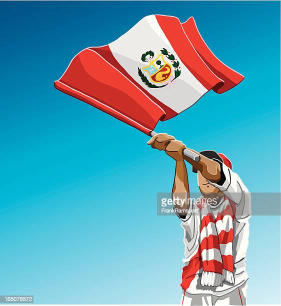 Peru Waving Flag Soccer Fan