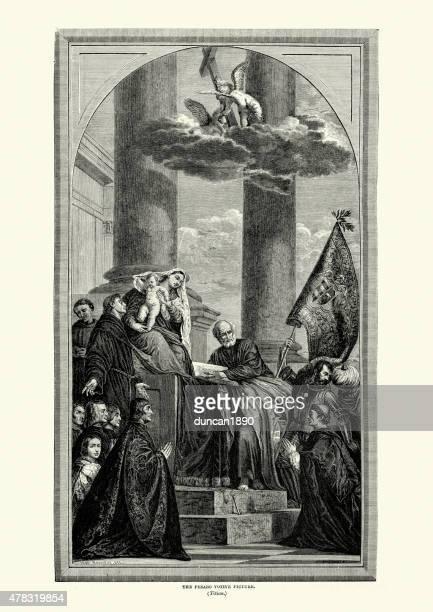 pesaro madonna by titian - tiziano vecellio stock illustrations, clip art, cartoons, & icons
