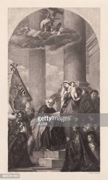 pesaro madonna, painted (1519-1526) by titian, venice, italy, published 1884 - tiziano vecellio stock illustrations, clip art, cartoons, & icons
