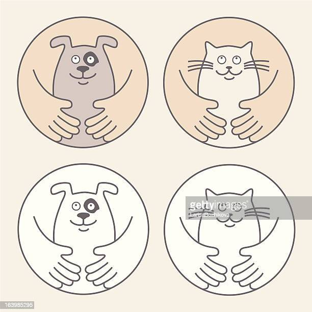 pet care - human body part stock illustrations