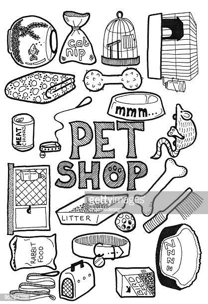 pet shop doodles - dog bowl stock illustrations, clip art, cartoons, & icons