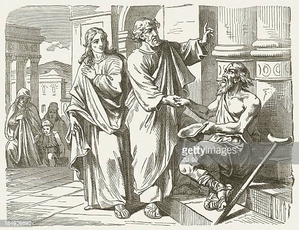peter and john heal the lame (acts 3), published 1877 - new testament stock illustrations