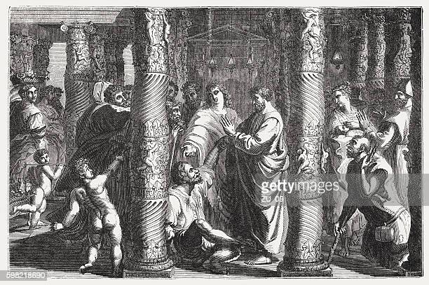 peter and john healed a lame (acts 3), published 1855 - paralysis stock illustrations, clip art, cartoons, & icons