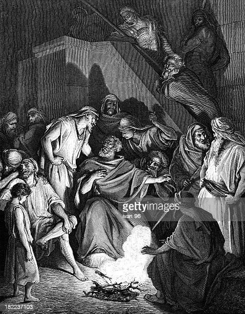 peter denies - biblical event stock illustrations