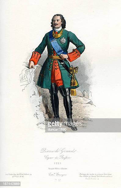 peter the great czar of russia - 17th century stock illustrations, clip art, cartoons, & icons