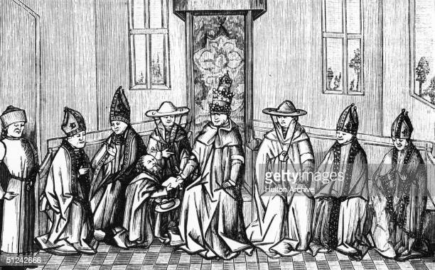 1094 Peter the Hermit delivering a message from Simeon the patriarch of Jerusalem to Pope Urban II Original Publication From a 15th century...
