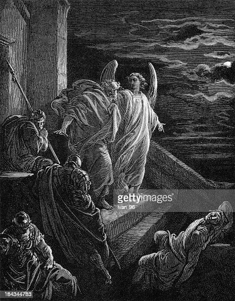 peter's delivery from prison - free bible image stock illustrations