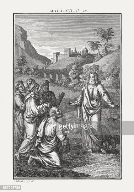 peter's confession (matthew 16, 19), copperplate engraving, published c.1850 - matthew peters stock illustrations