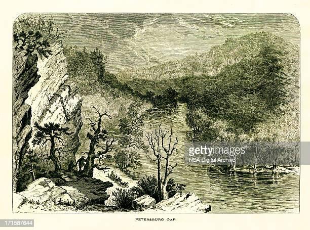 petersburg gap, west virginia - virginia us state stock illustrations