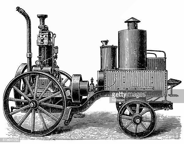 petroleum lokomobile - inventor stock illustrations