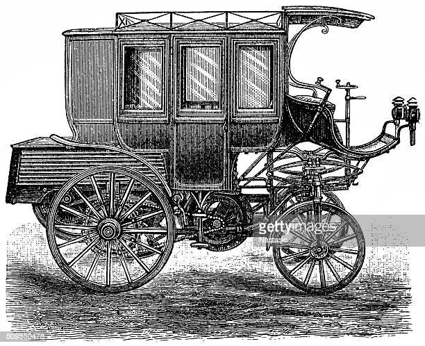 petroleum motorcar as stagecoach - post office stock illustrations, clip art, cartoons, & icons