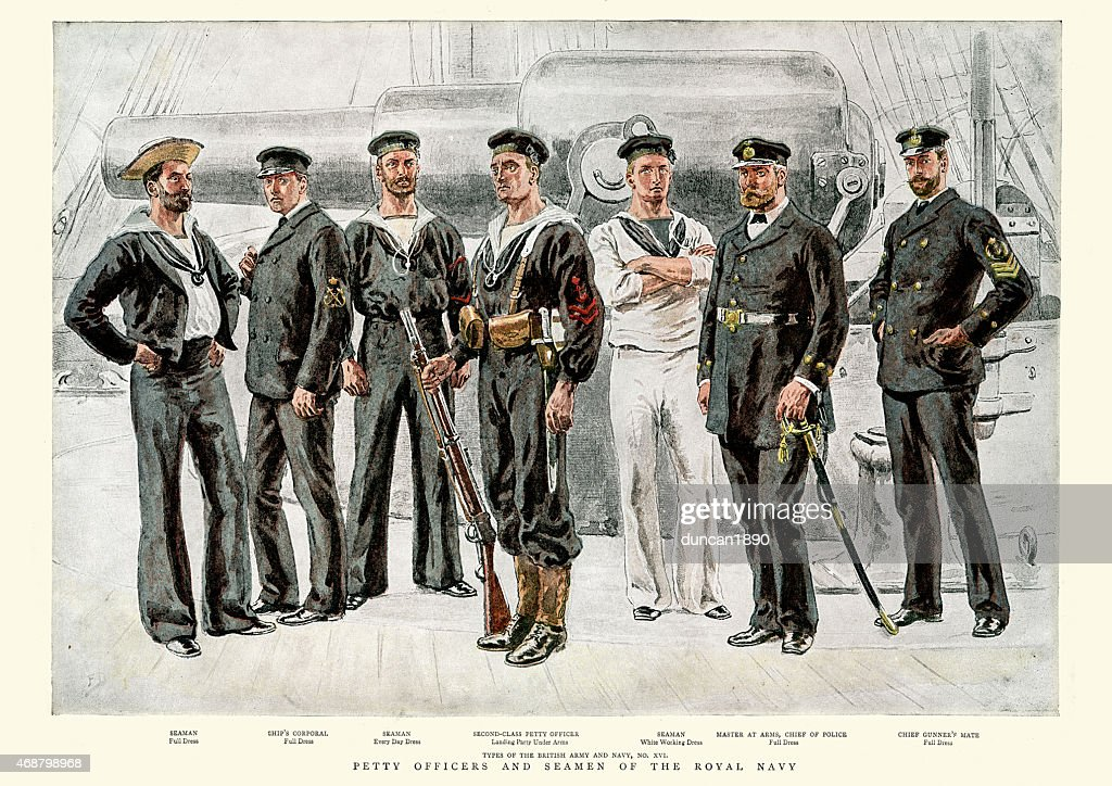 Petty Officers and Seamen of the Royal Navy, 1891 : stock illustration