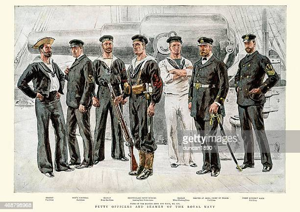 petty officers and seamen of the royal navy, 1891 - us navy stock illustrations, clip art, cartoons, & icons