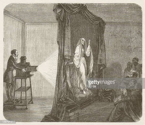 Phantascope by Etienne Gaspard Robertson (1763-1837), wood engraving, published 1877