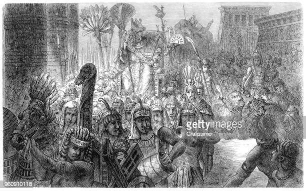pharaoh at religious ceremony in ancient egypt 1880 - ancient egypt jewelry stock illustrations