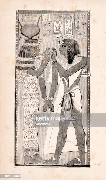 pharaoh seti i and egyptian goddess hathor illustration - ancient egypt jewelry stock illustrations