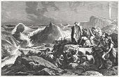 Pharaoh's downfall in the Red Sea (Exodus 14), published 1886