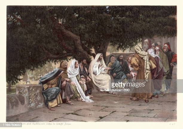 pharisees and sadducees come to tempt jesus - jesus christ stock illustrations