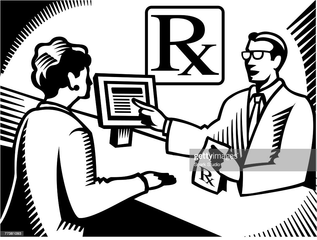 A pharmacist explaining a prescription to a customer drawn black and white : Illustration