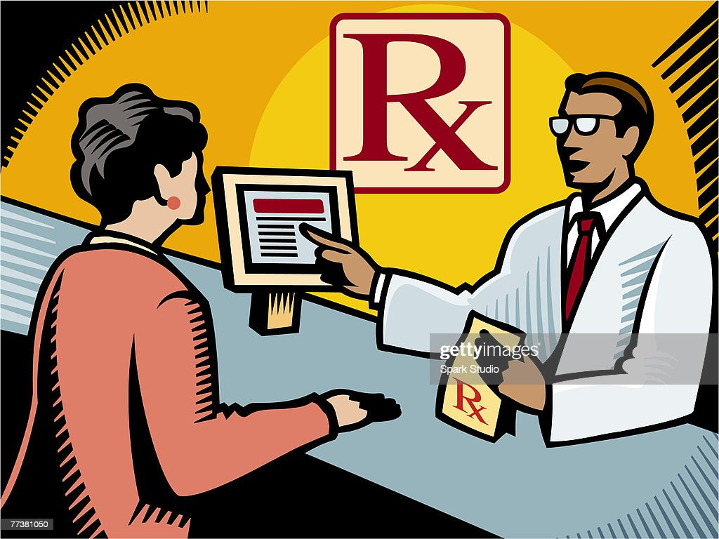 A pharmacist explaining a prescription to a customer : Illustration