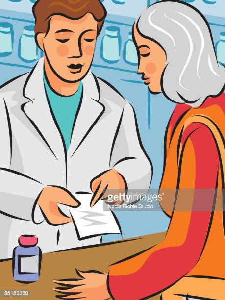 a pharmacist explaining about hormone replacement therapy medication to a woman - menopause stock-grafiken, -clipart, -cartoons und -symbole