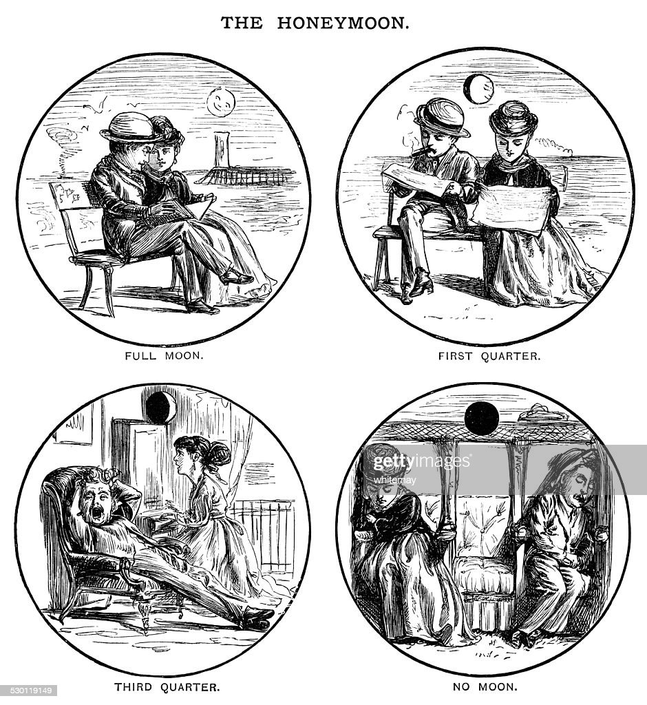 Phases of the (honey)moon : stock illustration