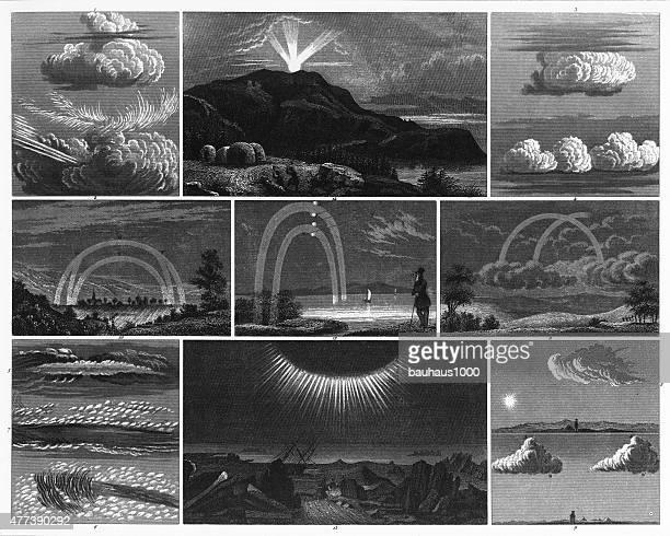 phenomena of clouds and light engraving - aurora borealis stock illustrations