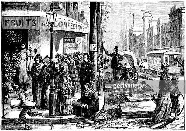 philadelphia centennial festival street scene, 1876, illustrated london news - 100th anniversary stock illustrations