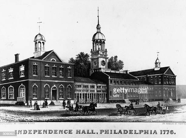 Philadelphia's State House, later named Independence Hall, where representatives of the Second Continental Congress met in defiance of British law...