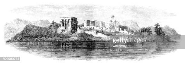 philae, egypt (victorian engraving) - north african ethnicity stock illustrations, clip art, cartoons, & icons