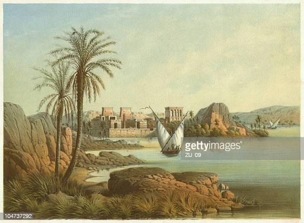 ilustrações, clipart, desenhos animados e ícones de philae island (egito)-até e. weidenbach, publ. 1861 - cultura egípcia