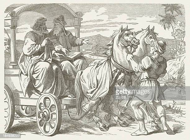 philip and the ethiopian eunuch (acts 8), published in 1877 - castrated man stock illustrations