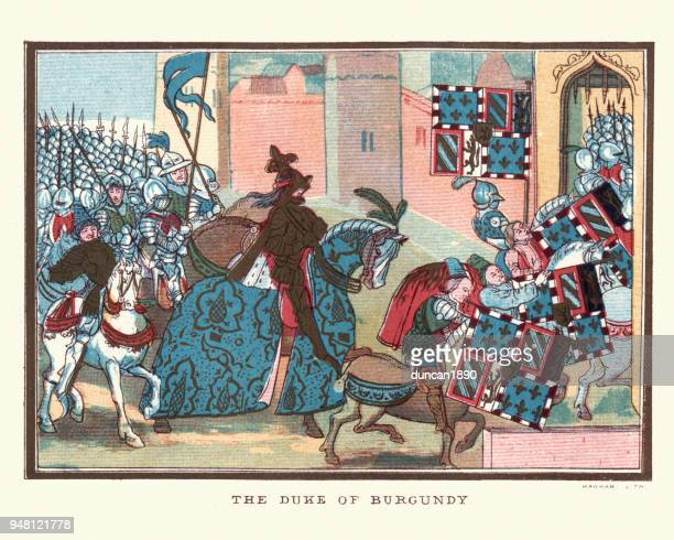 philip the bold duke of burgundy and his army - hundred years war stock illustrations, clip art, cartoons, & icons
