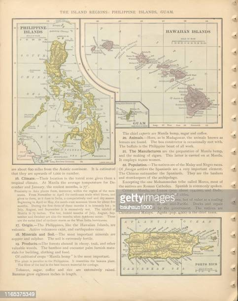 Philippine Islands, Guam, Peurto Rico and Hawaiian Islands of the United States of America Antique Victorian Engraved Colored Map, 1899