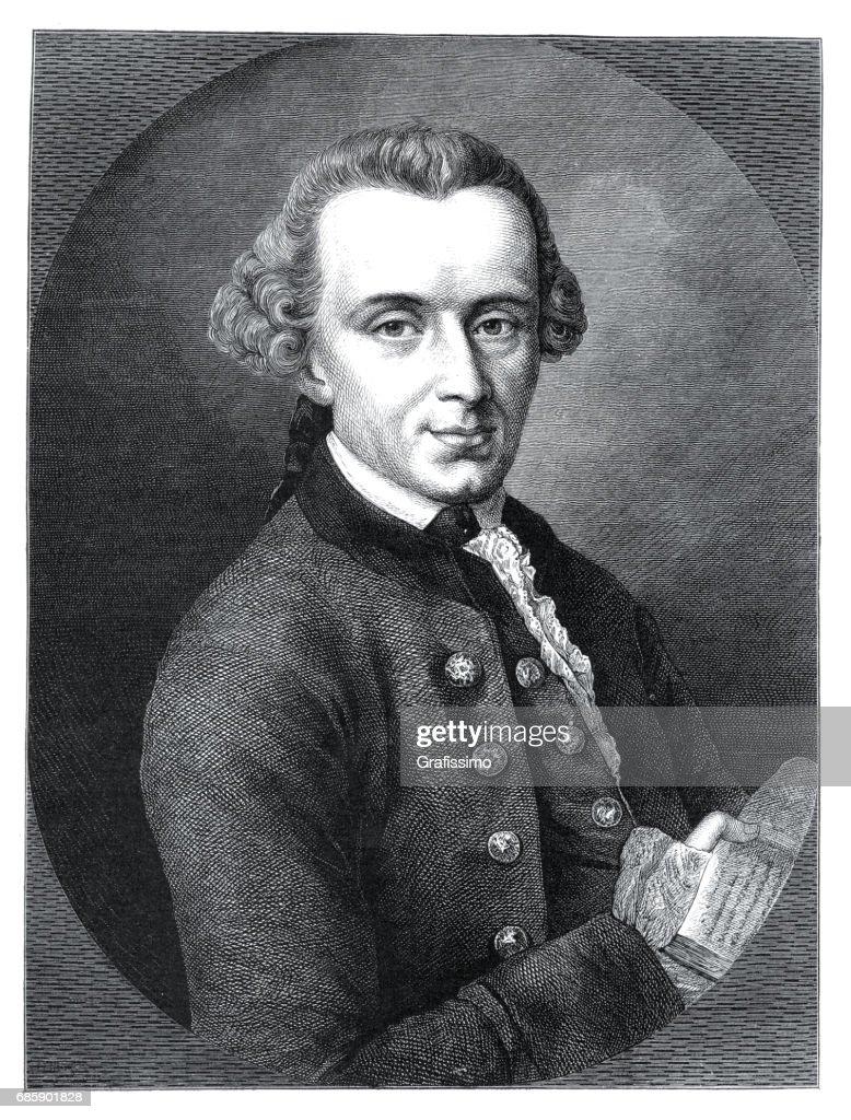 Philosopher Immanuel Kant engraving from 1882 : stock illustration