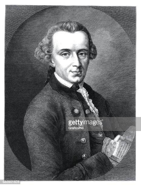 Philosopher Immanuel Kant engraving from 1882