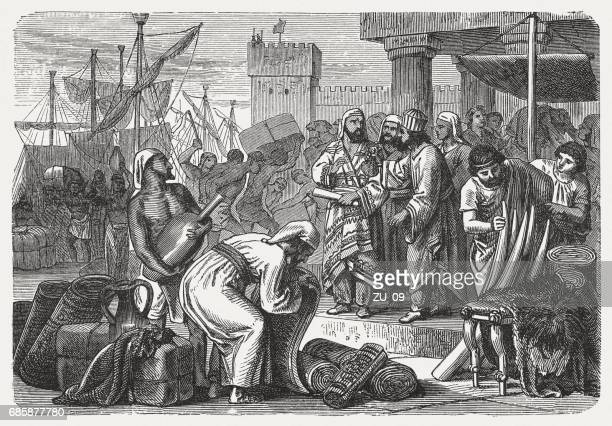 phoenician merchants of antiquity, wood engraving, published in 1880 - ancient stock illustrations, clip art, cartoons, & icons