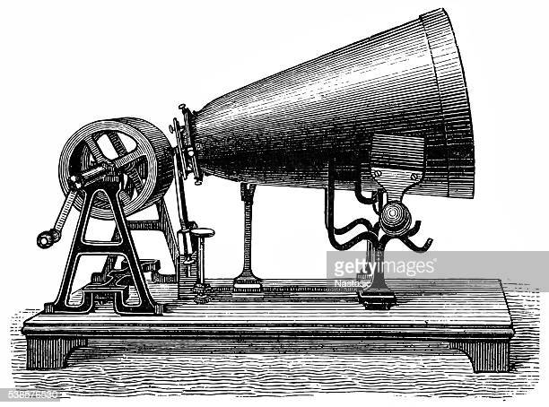 phonautograph by koenig - gramophone stock illustrations, clip art, cartoons, & icons