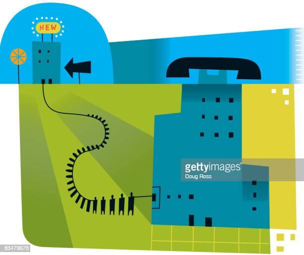phone company exodus - phone cord stock illustrations