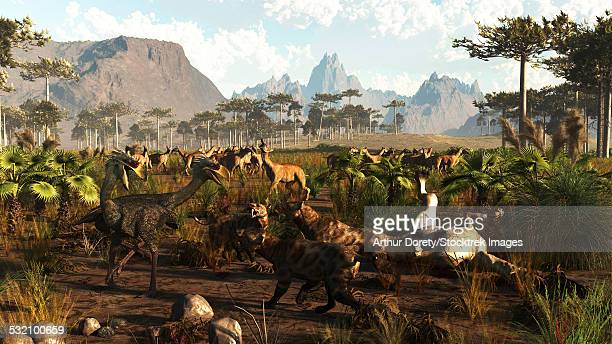 Phorusrhacos, Smilodons and Macrauchenia in ancient Argentina 2 million years ago.