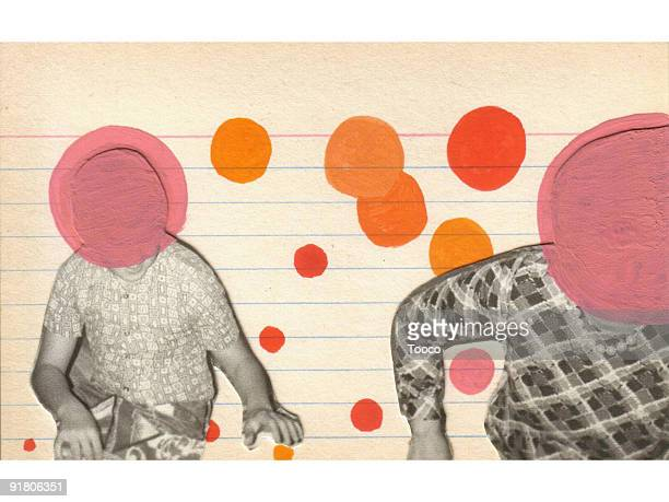 a photo collage of two women with their faces painted out - unrecognisable person stock illustrations