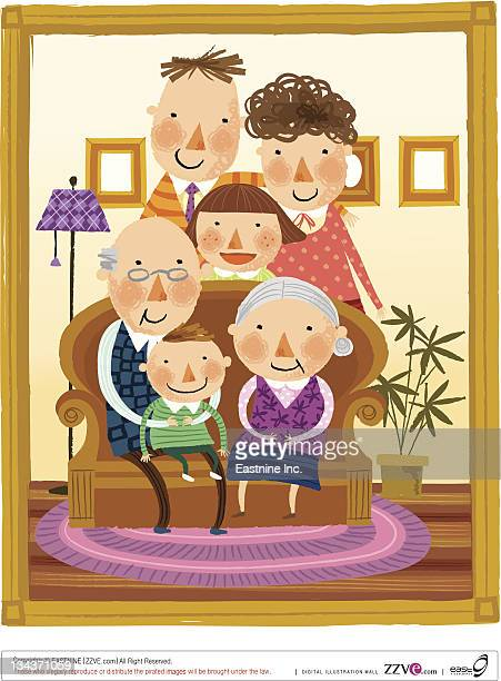 photo frame of portrait of large family