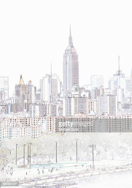photographic drawing of empire state building - paperwork stock illustrations