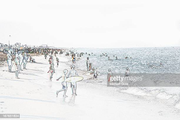 photographic line drawing of beach - large group of people stock illustrations