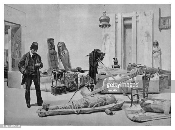 photographing the mummy - tomb stock illustrations