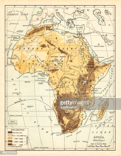 physical map of africa 1895 - horn of africa stock illustrations