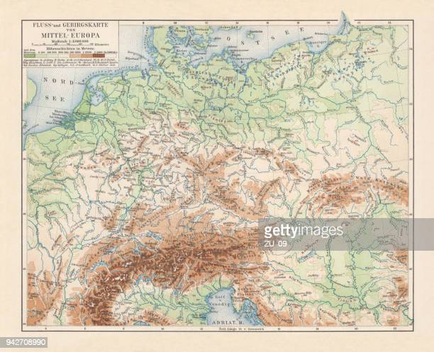 Physical map of Central Europe, lithograph, published in 1897