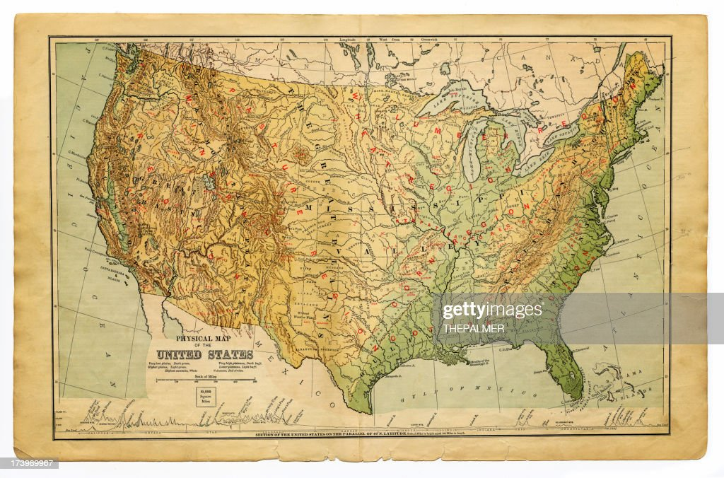 Physical Map United States Of America Stock Illustration | Getty Images